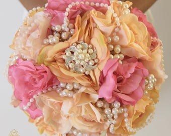 FULL PRICE for opening!!! 11.5 inches REady to Ship Elegant Real Touch Roses Pearl Bridal Brooch Bouquet