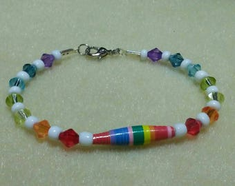Bracelet, Rainbow bracelet, Beaded bracelet, Rainbow crystal bracelet, Paper bead bracelet, Rainbow paper bead, Rainbow crystal, White beads
