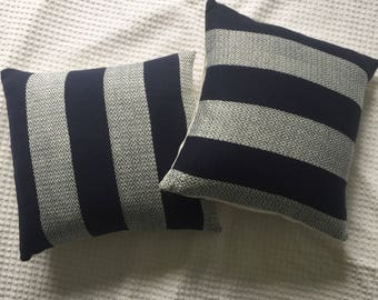 Hand woven navy accent pillow with white stripe