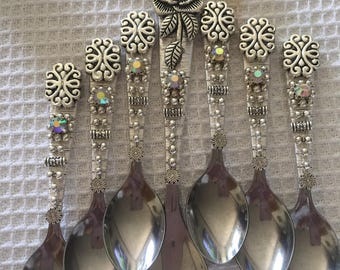 Coffee spoons decorated by hand, Swarovski, 7-piece set