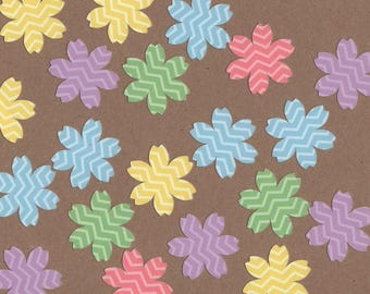 "35 - 1 1/2"" Pastel Flower Die Cuts for Paper Crafts Set 5"