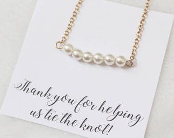 Pearl Bridesmaid necklace, pearl necklace, pearl necklace set, gold bridesmaid necklaces