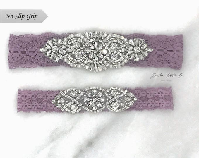Purple Wedding Garter, NO SLIP Lace Wedding Garter Set, bridal garter set, vintage rhinestones