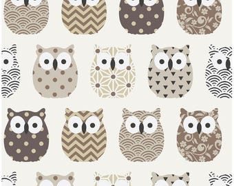 Mini fabric beige owls - fabric owls - owl fabric - birds fabric - Scandinavian fabric - Japanese - fabric cotton oeko tex - sold by 50 CM