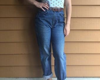 Vintage Women's High Waisted Blue Denim Chic Jeans