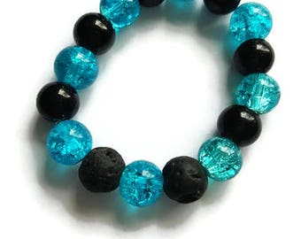 Diffuser Bracelet, Aromatherapy Bracelet, Stretchy Bracelet, Lava Stone Bracelet, Blue Bracelet, Gender Neutral, Oily Gift, Hippie