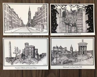 Edinburgh City Postcards/Cards. Local made Freehand Sketch Prints/Cards.