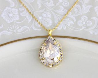 Crystal Bridal necklace, Swarovski crystal necklace, Wedding jewelry, Teardrop crystal necklace, Champagne crystal necklace, Bridesmaid gift