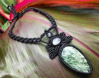 Seraphinite and Moonstone Macrame Necklace