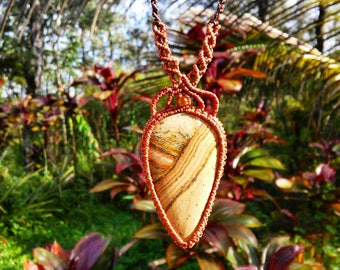 Picture Jasper and Tigers Eye Macrame Necklace