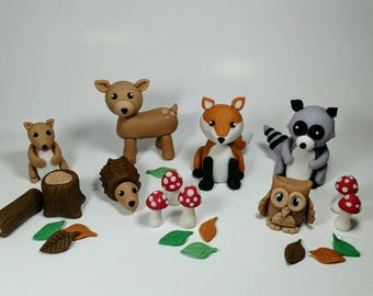 Fondant Woodland Cake Toppers- Fondant Animals - Woodland Party - Fondant Decor - Baby Shower - 1st Birthday - Woodland Birthday Cake Topper