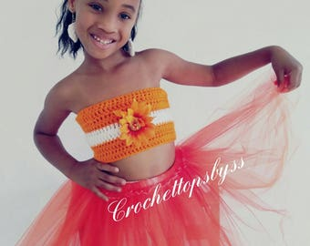 Girls' Crochet Bandeau Top & Tutu