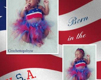 Infant Girls' USA Crochet Bandeau Top & Tutu/Girls' Outfit
