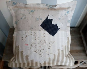 Pillow, linen, fabric and old English lace