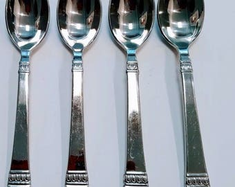 Oneida Stainless Cadence Four Oval Soup Spoons