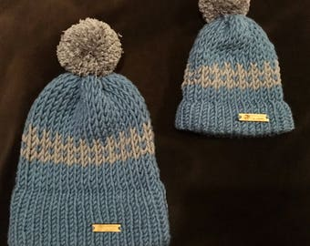 Hand-Knitted Matching Woolly Hats - Parent & Child (Other Colours/Patterns/Sizes Available)