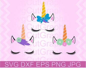 Unicorn Svg Files, Unicorn Face SVG, Gold Horn Unicorn SVG, Unicorn Eyelashes, Floral Unicorn Eyelashes Svg Files, Silhouette Cricut SVG