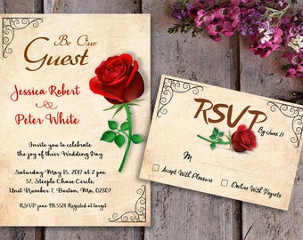 Charming Beauty And The Beast Invitations | Etsy