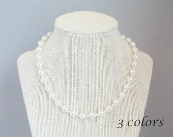 Swarovski Pearl Necklace, Pearl Necklace, Swarovski Necklace, Single Strand Pearl Necklace, N09