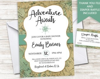 Adventure Awaits Baby Shower Invite Invitation World Map 5x7 Traveler Travel Greatest Sprinkle