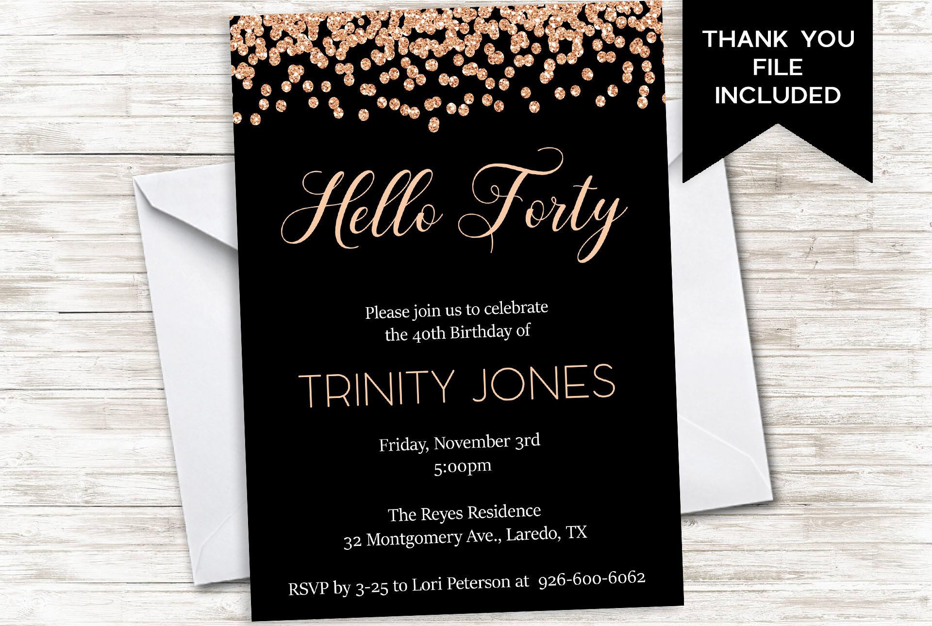 forty birthday invitation invite womens 40th hello forty 40