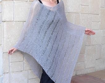 Poncho Sweater Shawl Top Loose Neckline Light Grey Alpaca Wool Cape Plus Size