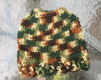 Super Cute Ribbed Style Camoflauge Crochet Messy Bun/Ponytail Hat