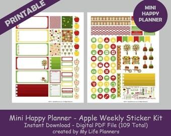 Apple MINI Happy Planner Printable Stickers, Weekly Kit, Planner Kit, Planner Stickers, MINI Happy Planner, Instant PDF Download