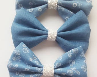 Large denim cotton bow Glitter middle girls bow baby Hairband