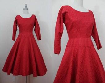 Mint Condition RARE Original Designer Jonny Herbert Red Jaquard 50's Cocktail Swing Party Dress, Size S/M