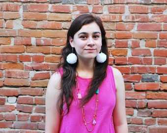 Cream and Sugar Large Pom-Pom Earring Set | Summer Accessories | Drop Earrings