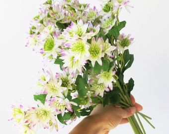 11 Astrantia White Purple Branches Green High Quality Artificial Flowers Blossoms Leaves  Branch Wedding Decoration