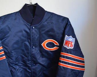 Vintage 80s/90s Starter Chalkline NFL Football Chicago Bears Satin Jacket
