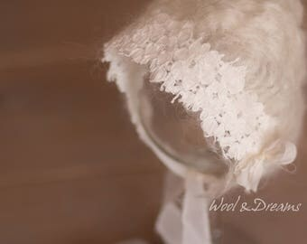 RTS Ivory Felted Lace Vingtage Romantic Bonnet Newborn Size Photography Prop