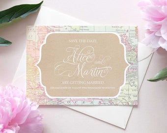 rustic map save the dates