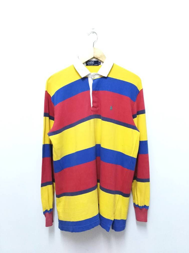 Hot Sale!!! Rare Vintage 90s POLO RALPH LAUREN Small Pony Multicolor  Striped Polo