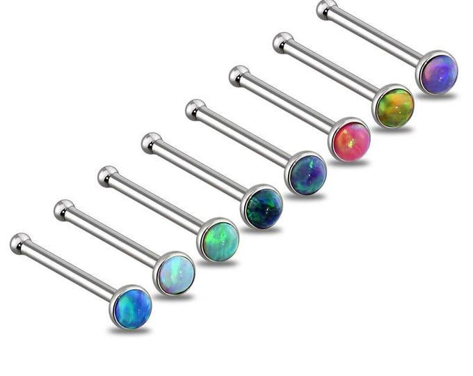 Vibrant Colored Opal Press Fit 316L Surgical Steel Nose Bone