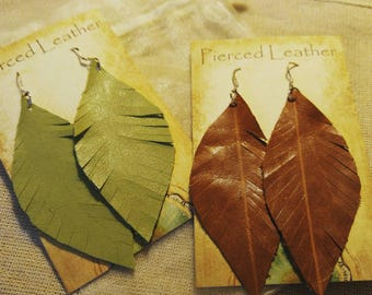 Leather Statement earrings/Boho/leather feather earrings/genuine leather/chic/dangle/gift/shabby chic