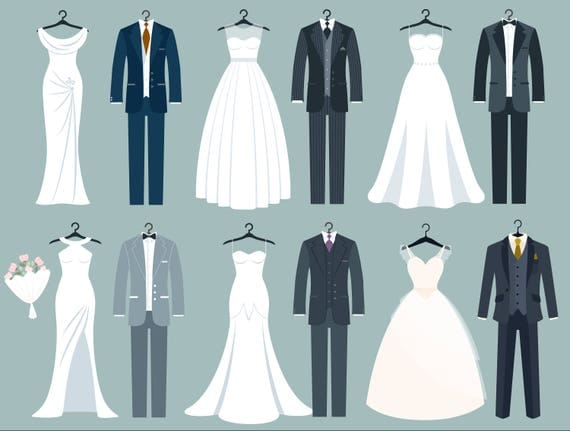 Gown Wedding Dress PNG Clip Art - Best WEB Clipart  Clipart Bride And Bridesmaid Dresses