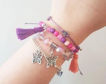 Pack of 4 butterfly themed bracelets