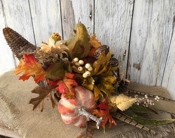 A Cornucopia Filled with Fall Pumpkins and Flowers, Thanksgiving Centerpiece, Autumn Cornucopia, Farmhouse Decor, Autumn Decor