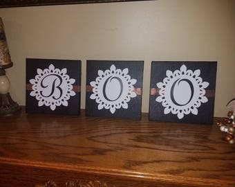 Set of 3 Painted Canvas Halloween BOO Wall or Mantle Art