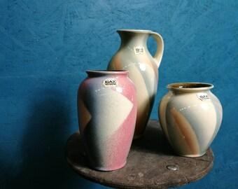 Set of 3 Bay 'Spritzdekor' vases