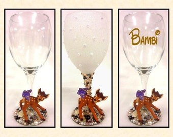Bambi Disney Inspired Glitter and Pearl Wine Glass ~ Decorative, Drinking or Personalised Drinking Glass