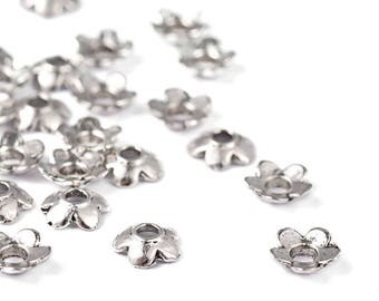Flower bead caps silver 6.5x6.5mm - Silver Flower Bowls 1/4 ""