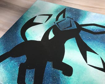 """""""Shiny Glaceon"""" - Painted Canvas Inspired by Pokemon"""