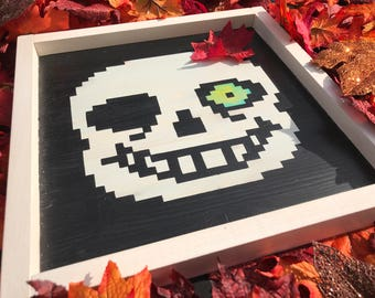 Sans Battle Sprite - Wood Sign Inspired by Undertale