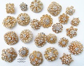 24 Gold Brooch Lot Assorted Rhinestone Button Pin Wedding Brooch Bouquet Brooch Button Mixed Crystal Bridal Hair Cake Shoe Sash DIY