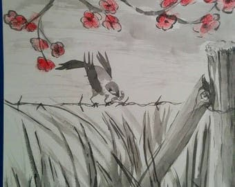 """Bird in the"" ink wash drawing"