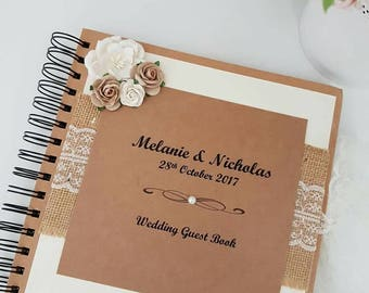 Rustic Guest Book, vintage style wedding guest book, rustic guest book, rustic wedding, shabby chic style , guest book